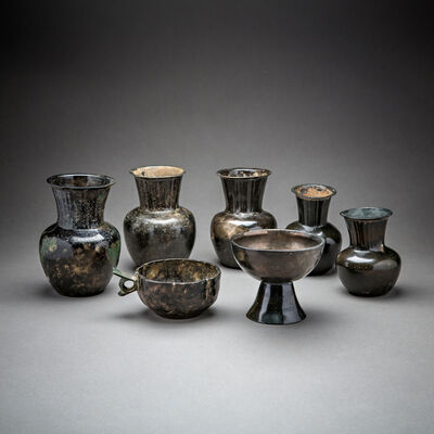 Unknown Sassanian, 'Set of Seven Sassanid Bronze Vessels', 200 AD to 600 AD