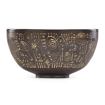 Edwin Scheier, 'Large and early bowl with abstract design'