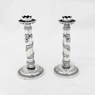 Luen Hing of Hong Kong, 'A pair of Chinese Export silver candlesticks with dragon detail ', 1895