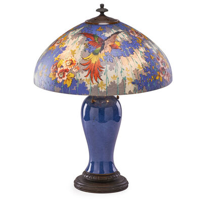 Handel, 'Table lamp with birds of paradise and roses, Meriden, CT', des. ca. 1924