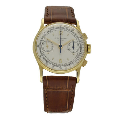 Patek Philippe, ' 18ct yellow gold chronograph wristwatch Ref: 130.', 1951