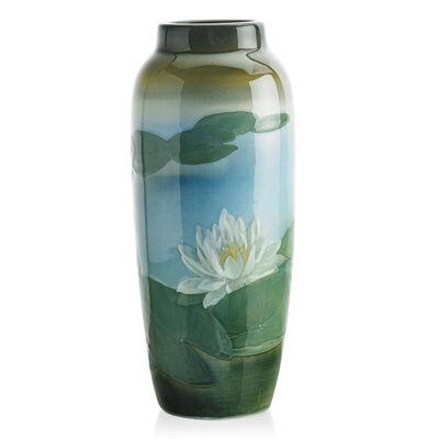 Kataro Shirayamadani, 'Rookwood, Fine Iris Glaze Vase With Lotus Flowers, Cincinnati, OH', 1906