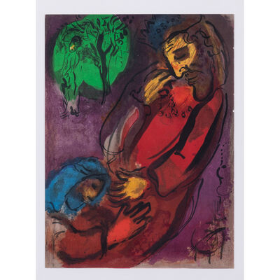 Marc Chagall, 'Angel of Paradise, David and Absalon, David on harp, Moses, The Prophet Daniel and the Lion (5 lithographs)', 1956