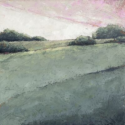 "Alison Haley Paul, '""Hush"" Impasto mixed media painting of a green field with pastel pink sky', 2019"