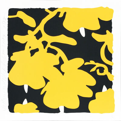 Donald Sultan, 'Lantern Flowers - Yellow/Black background', 2017