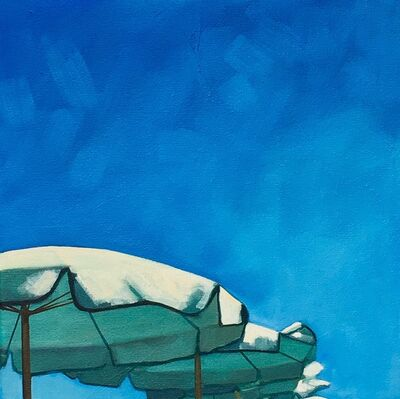 """T.S. Harris, '""""Umbrellas in a Row"""" Oil painting of a blue sky with umbrellas', 2019"""