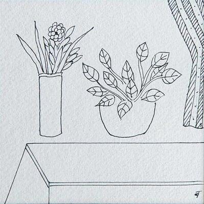 "Badri Narayan, 'Still Life, Flower Vase, Ink on Paper by Indian Padmashree Artist ""In Stock""', 2008"