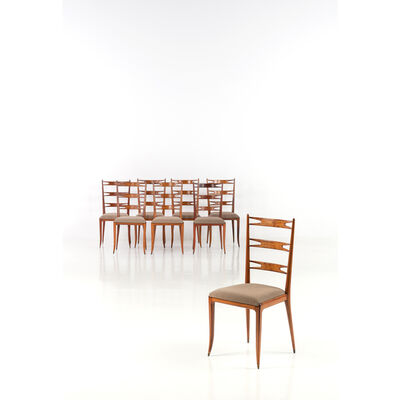 Giuseppe Scapinelli, 'Set of eight chairs', 1950
