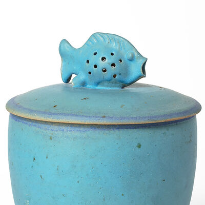 Edwin Scheier, 'Covered Pot With Fish', ca. late 1980's