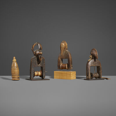 Unknown Senufo, 'Collection of Three Heddle Pulleys and Sewing Needle Case', 20th Century