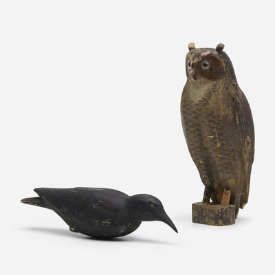 The Herter's Company, 'Great Horned Owl and crow decoys', c. 1940