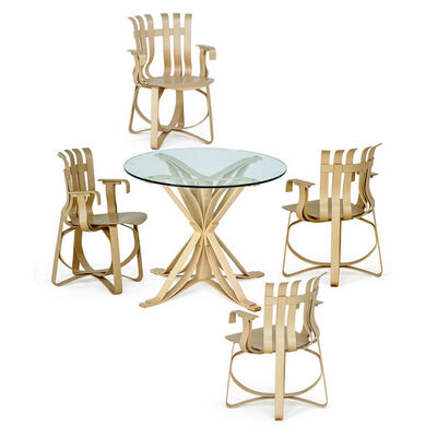 Frank Gehry, 'Face Off table and four Hat Trick chairs, New York', 1997