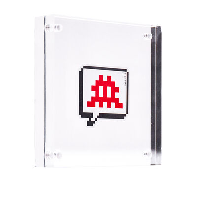 Invader, 'RED INVADER SPEECH BUBBLE STICKER (Framed)', 2015