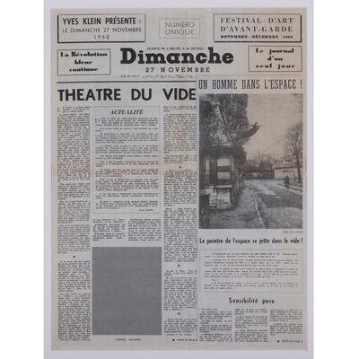Yves Klein, 'Dimanche : Le Journal d'un seul jour, Théâtre du vide', 1960