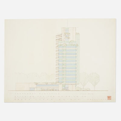 Frank Lloyd Wright, 'Northwestern Elevation drawing for Price Tower, Bartlesville, Oklahoma', 1952