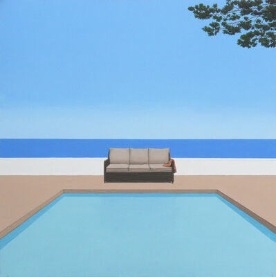 Magdalena Laskowska, 'Pool by the ocean - landscape painting', 2020