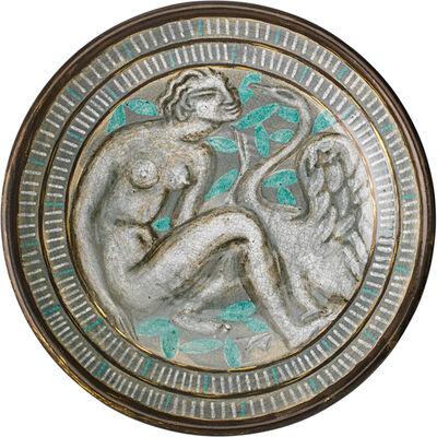 Édouard Cazaux, 'Large Centerpiece Bowl Depicting Leda And The Swan, France', 1920s