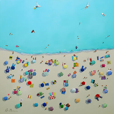 Ana Moran, '''Beach Vibes'' Oil painting of aerial view of colorful umbrellas and people on the beach with turquoise sea', 2019
