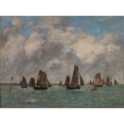 Eugène Boudin, 'Etaples. Sortie des barques de pêche', 1890