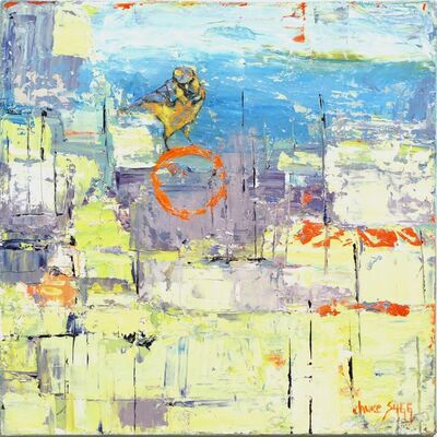 Janice Sugg, 'Abstract Bird Painting 'Lavender Burning Blue w/ Bird' Urban Wildlife Art, Contemporary Nature Scene', 2017