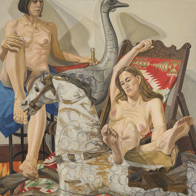 Philip Pearlstein, 'Two models with hobby horse and carousel ostrich', 2002
