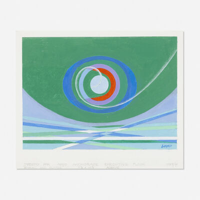 Herbert Bayer, 'study for Spiral and Elypse tapestry', 1983/84