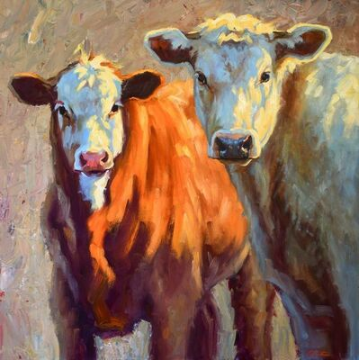 """Cheri Christensen, '""""Around Here"""" oil painting of a brown cow and a white cow in the light', 2020"""
