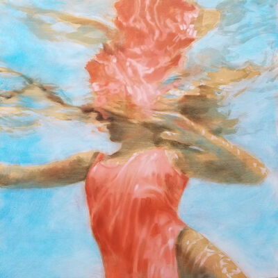 Carol Bennett, '''Rose Carthamus'' oil painting of a woman in a red swimsuit in a blue pool', 2019