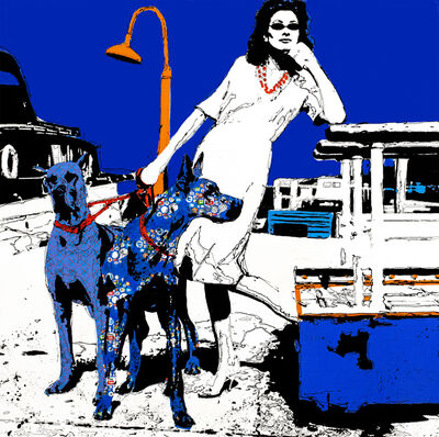 """Holly Manneck, '""""Walking The Dogs"""" woman posing in sunglasses holds orange leashes worn by two large dogs against a deep blue sky', 2010"""