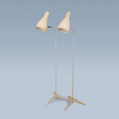 Svend Aage Holm Sørensen, 'Pair of white midcentury floor lamps', 1950-1960
