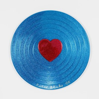 Peter Blake, 'Red heart on blue Target (metal flake) ', 2017