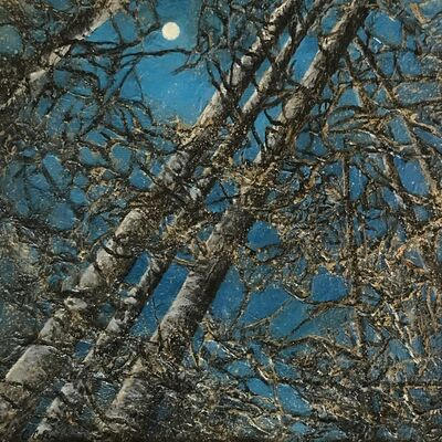 Christie Coker, 'Night Magic II - Sky, Trees, Moon, Forest, Texture, Metallic, Gold, Dark Blue, Branches, Tree Trunks', 2020
