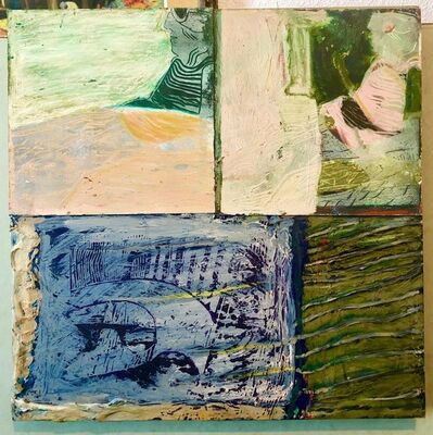 Francie Bishop Good, 'Shes Watching Mixed Media Painting Collage Wall Construction FIgural Abstraction', 1980-1989