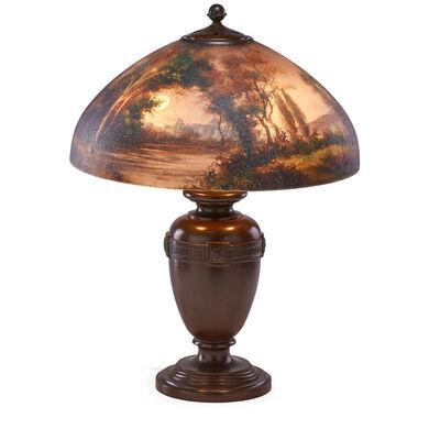 Handel, 'Table lamp with moonlit wooded lakeland scene, Meriden, CT', des. 1916