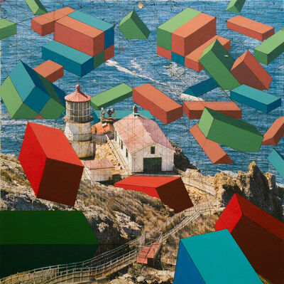 Mary Iverson, 'Point Reyes Lighthouse with Containers', 2016