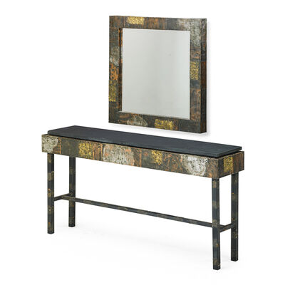 Paul Evans (1931-1987), 'Custom Patchwork Console Table And Mirror, USA', 1970s