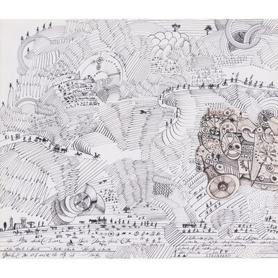 Saul Steinberg, 'Untitled, (Paysage égyptien)', 1965