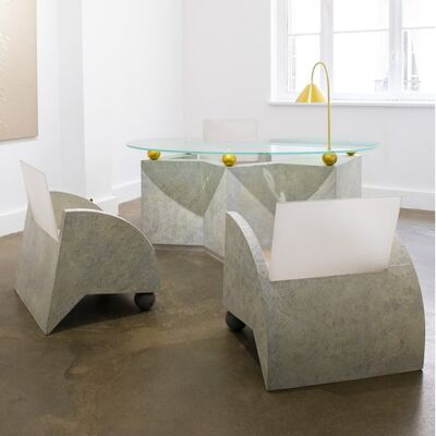 Pucci de Rossi, 'Desk and its three armchairs', 1988