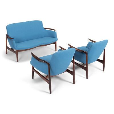 Finn Juhl, 'NV53 sofa and two easy chairs', 1953