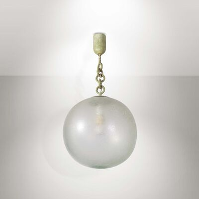 Seguso, 'A pendant lamp with a metal structure and an acid-etched diffuser shade', 1930 ca.