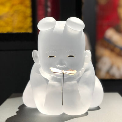 Koichi Matsufuji, 'Seated Baby, Cast Glass, Inlaid Glass eyes, and a silver Butterfly', 2019