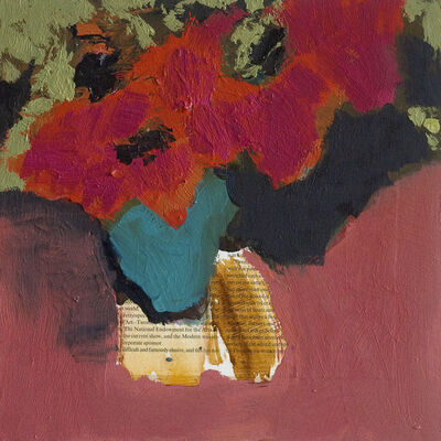 Jennifer Hornyak, 'Modernist Still Life with Red Flowers Home Brown with Script', 2018