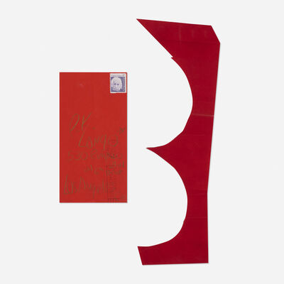 James Lee Byars, 'red paper cutout mailed to Tommy Longo', 1972