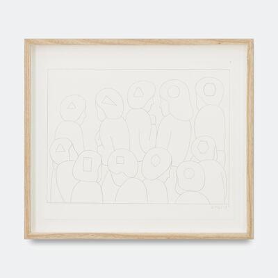 Geoff McFetridge, 'Conga Line Of Heads Shape Max', 2018