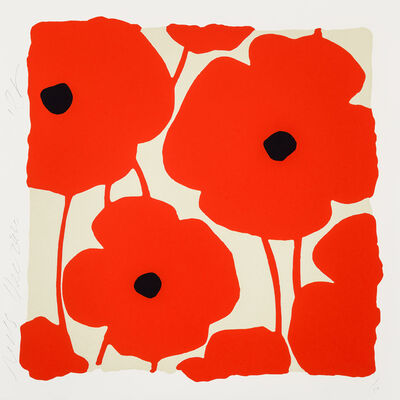 Donald Sultan, 'Three Poppies (Red)', 2020
