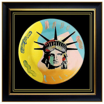 Peter Max, 'PETER MAX ORIGINAL Ceramic Plate PAINTING Signed LIBERTY HEAD Pop Art Acrylic', 1990-1999