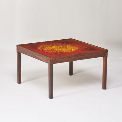 Attributed to Bech, 'Coffee table with inset reverse-painted glass top', 1970s