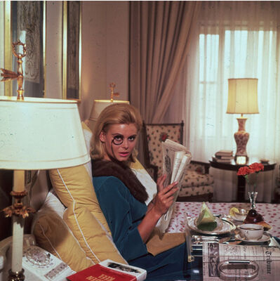 Slim Aarons, 'Monocled Miss, 1964: Renata Boeck enjoying breakfast in bed at the Regency Hotel in New York', 1964