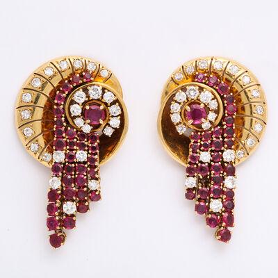 Van Cleef and Arpels, '1960s Ruby and Diamond Earrings by Van Cleef & Arpels', ca. 1960