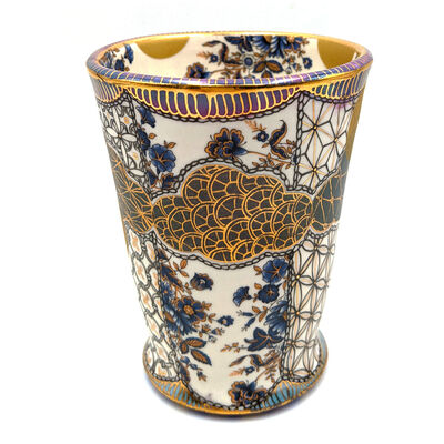 "Melanie Sherman, 'Tea Bowl ""Tu Me Connais VIII"" (Yunomi, Blue Vintage Flowers, Gold Luster Lip, Blue Bottom)', 2021"